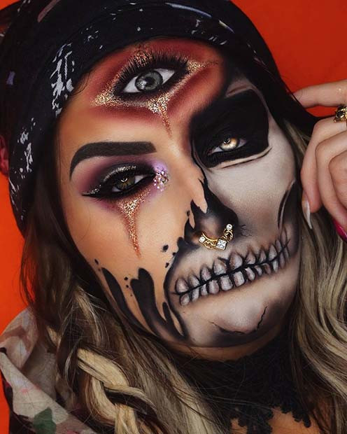 Zigeuner-Skelett-Halloween-Make-up-Idee