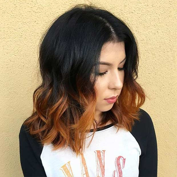Burnt Orange Ombre Schulterlänge Bob Haircut