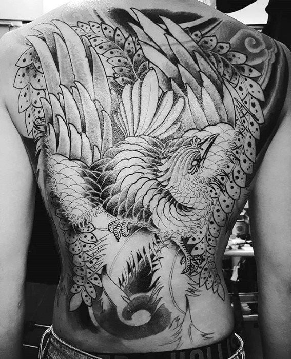 Gentleman With Japanese Phoenix Schwarzes und Graues Full Back Tattoo