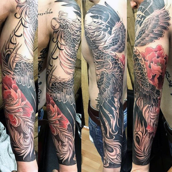 Ehrfürchtige Mens Phoenix Japanese Full Sleeve Tattoos