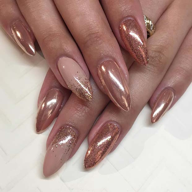Rose Gold Chrome Nägel