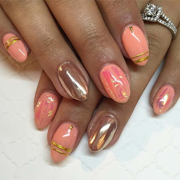 Rose Gold Chrome und Peachy Nails
