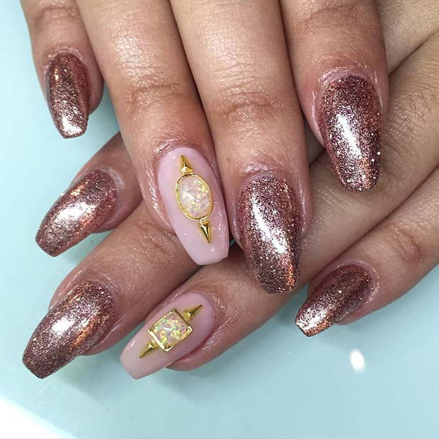 Rose Gold Glitter Nägel