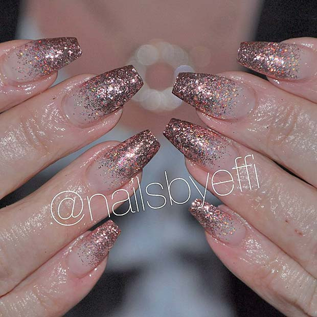 Sparkly, Rose Gold Glitter Nails