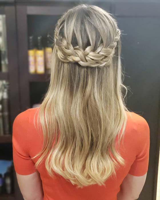 Halo Braid Half Updo