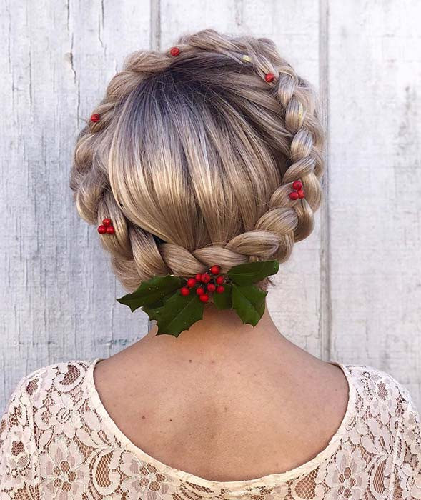 Festliche Halo Braid Updo