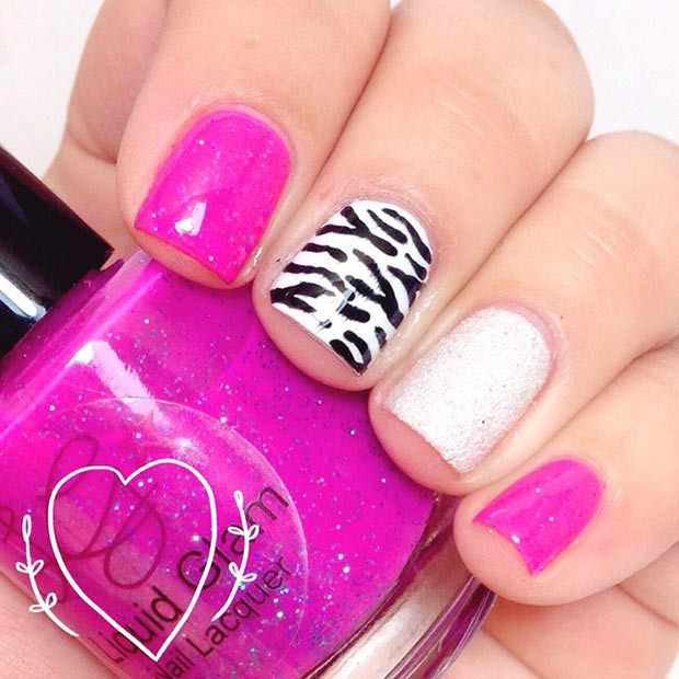 Hot Pink und Zebra Nail Design