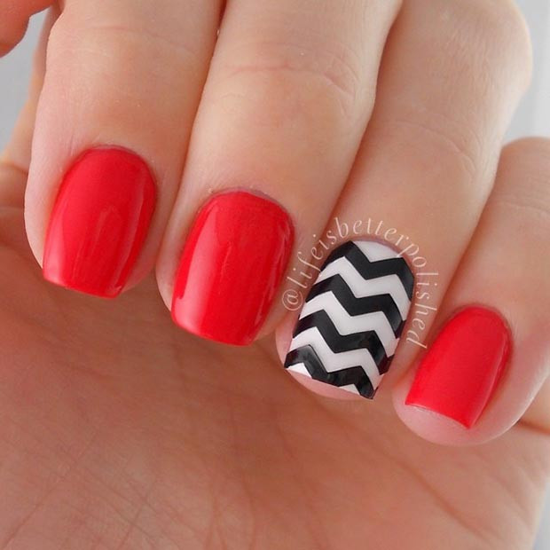 Easy Black and Red Nail Design für kurze Nägel