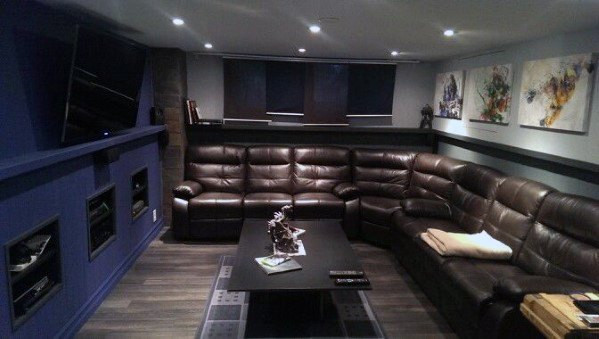 Brown Leather Sectional Mit Navy Wall Basement Man Cave