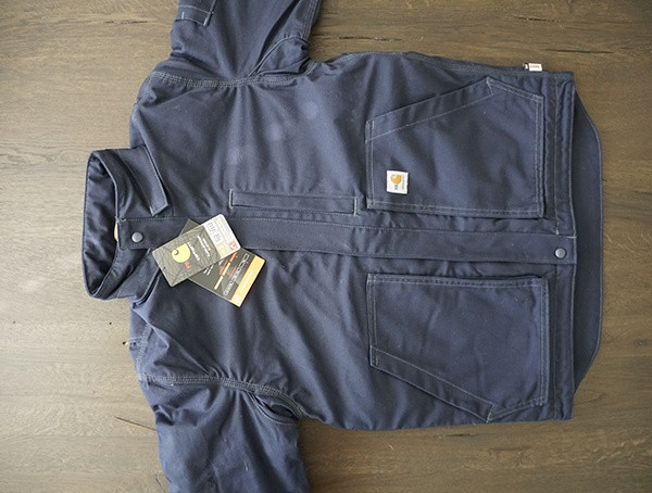 Navy Mens Fire Resistant Volle Schaukel Schnell Ente Lanyard Access Jacket Front
