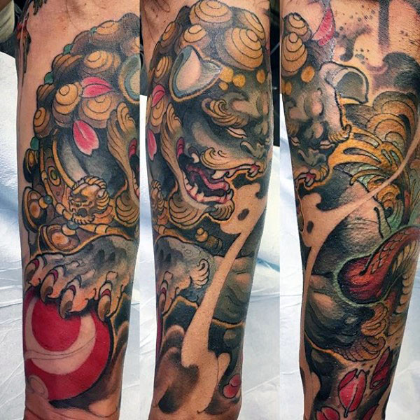 Awesome Mens Chinese Foo Hund Unterarm Sleeve Tattoo