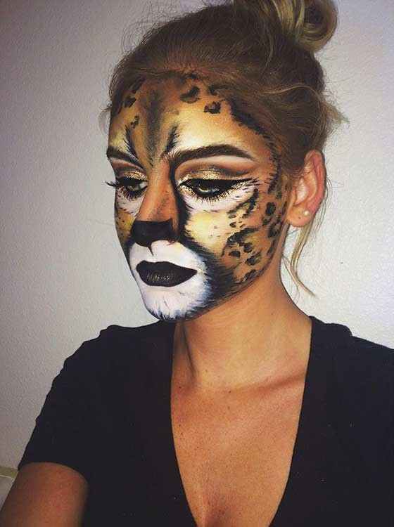 Gepard Halloween Make-up Idee
