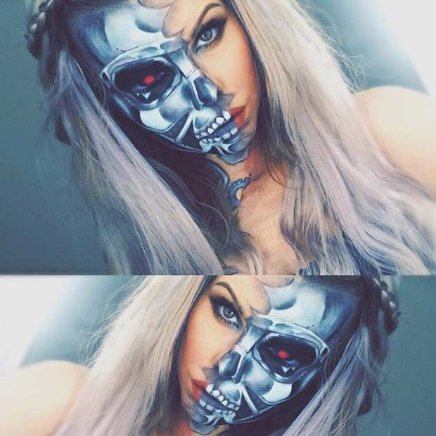 Half Face Terminator Makeup Look für Halloween