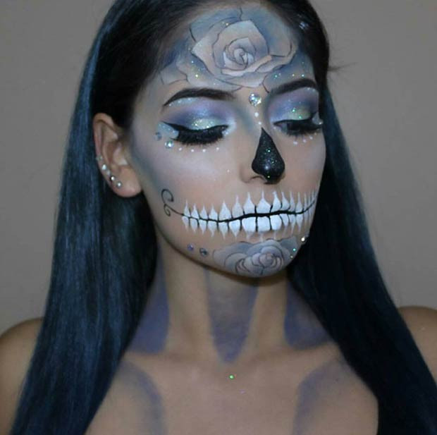 Ziemlich Glittery Sugar Skull Halloween Makeup Look