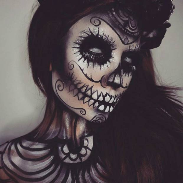 Scary All Black Sugar Skull Halloween Makeup Look