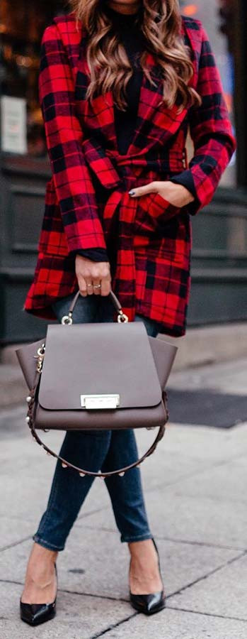 Chic Plaid Coat Outfit Idee