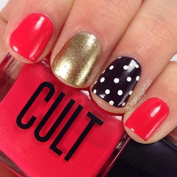 Easy Rot und Gold Nail Art Design