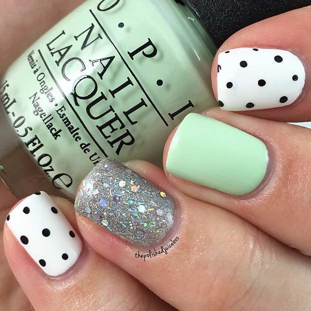 Easy Mint und Polka Dot Nail Design