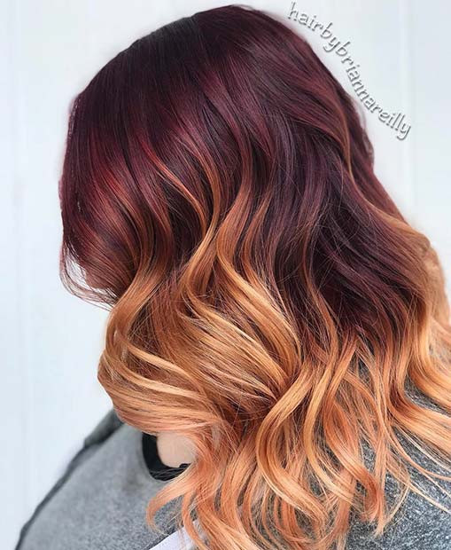Burgund zu Strawberry Blonde Ombre Hair