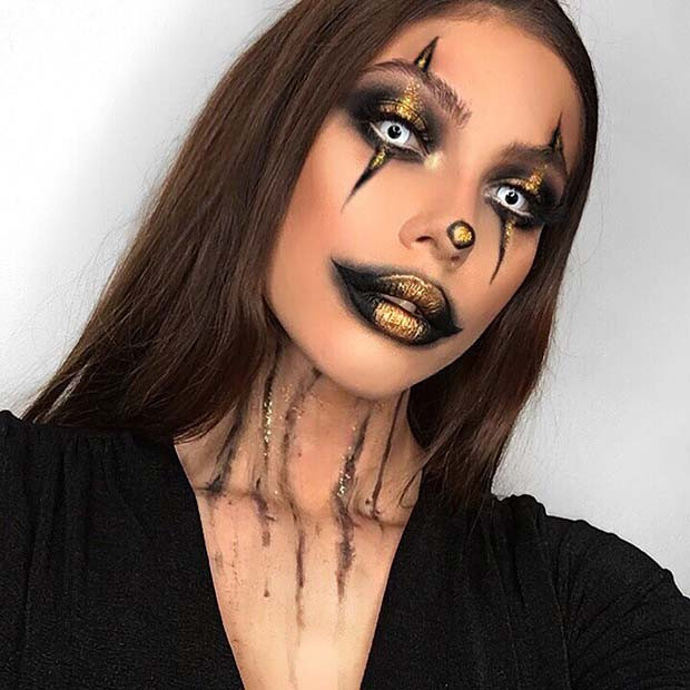 Gruselige Clown-Make-up-Idee für Halloween