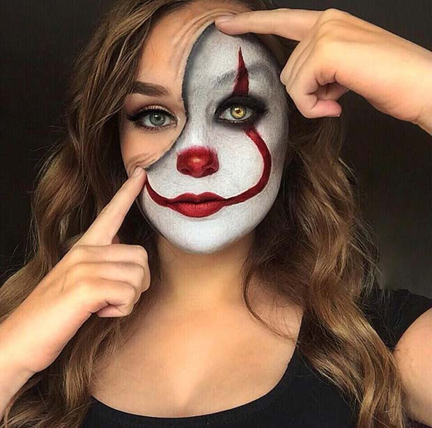 Es Clown-Make-up-Idee für Halloween