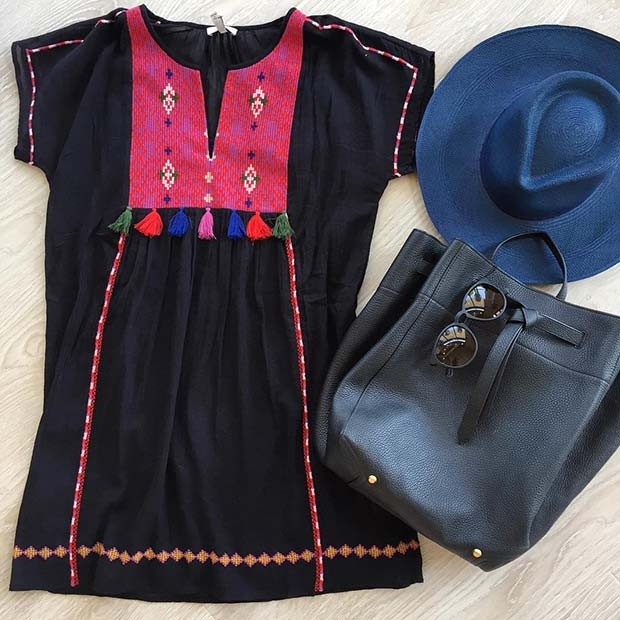 Boho bestickte Outfit-Idee