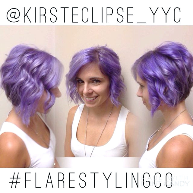 Messy Purple Bob Hairstyle para cabello corto