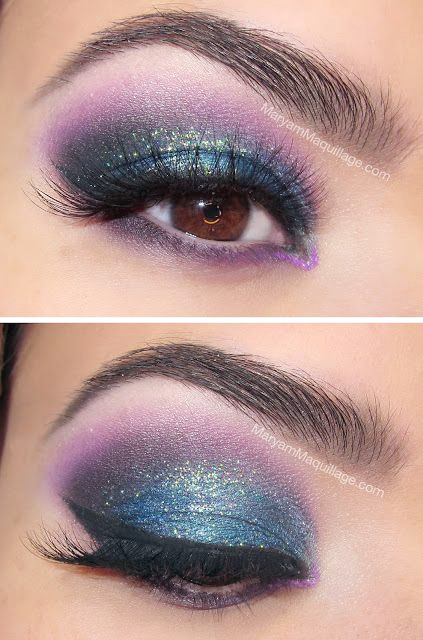 Farbiges Winged Smokey Augen Make-up