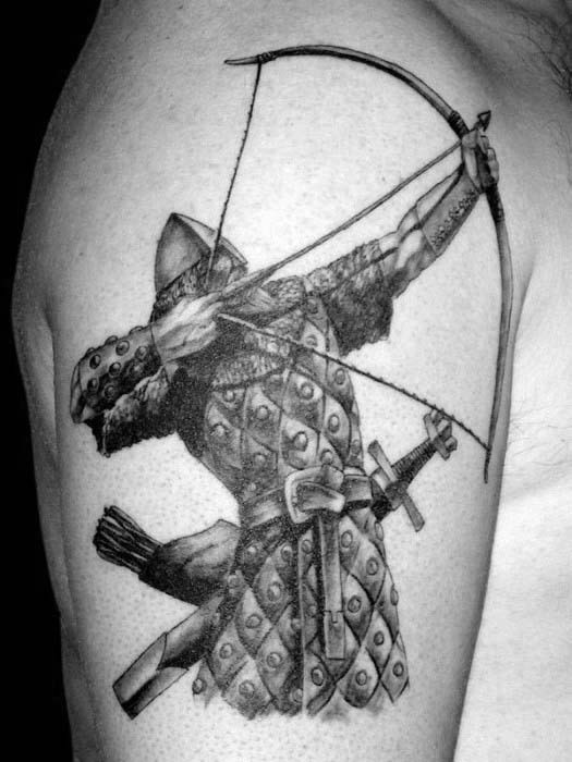 Archer Warrior Firing Bow Bogenschießen Herren Oberarm Tattoos