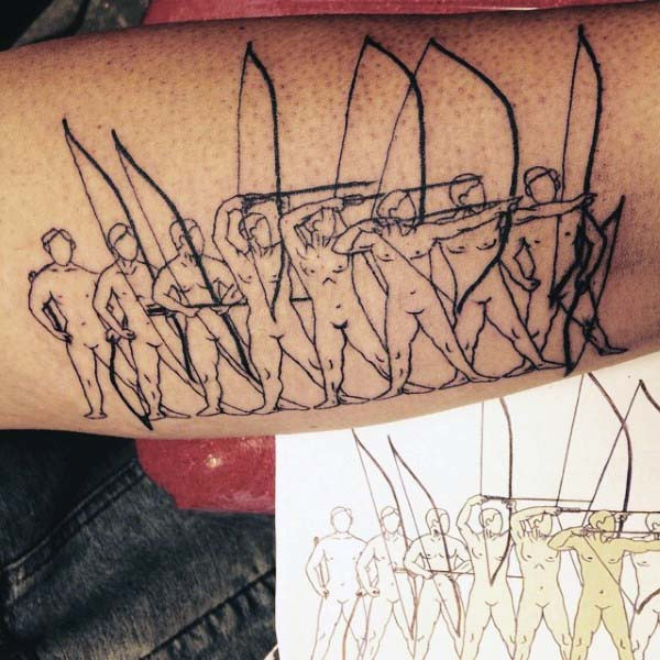 Warriors Outline Archery Tattoos für Herren