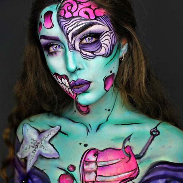 Pop-Art-Meerjungfrau für verwirrende Halloween-Make-up-Looks