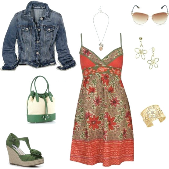 Idea de traje boho-chic con chaqueta denim