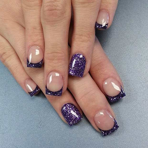 Sparkly Purple French Tip Nageldesign
