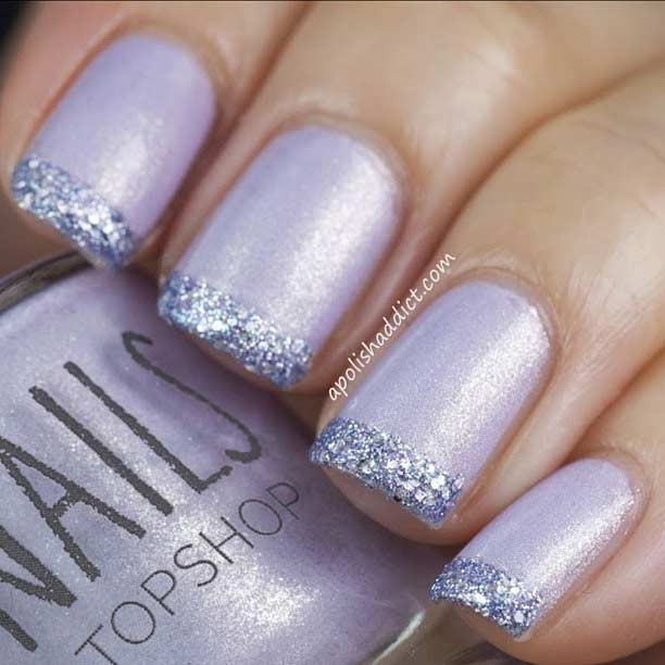Glitter French Tip Nails