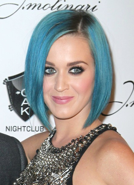 Katy Perry Short Blue Eine Linie Bob Frisuren