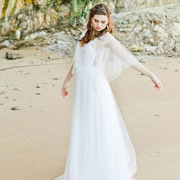 Schöne und Floaty Beach Wedding Dress Idee