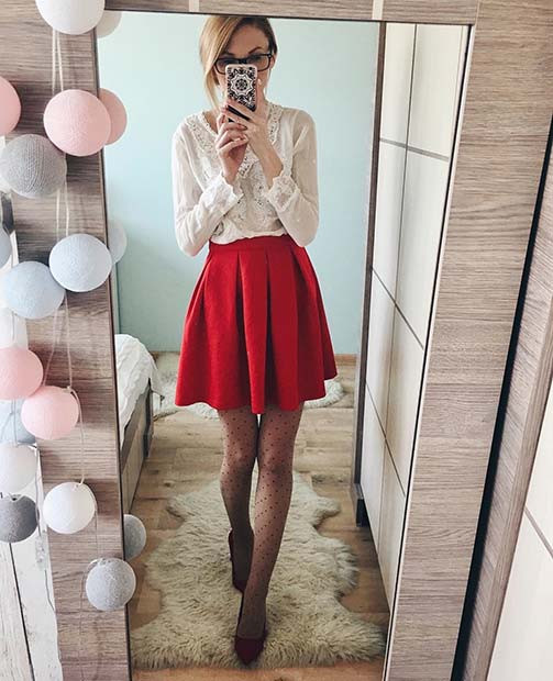 Süße rote Rock-Outfit-Idee