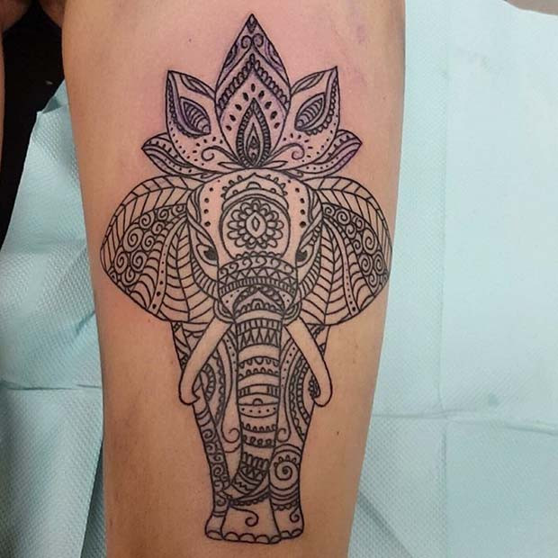 Statement Elephant Leg Tattoo für Elefant-Tattoo-Ideen