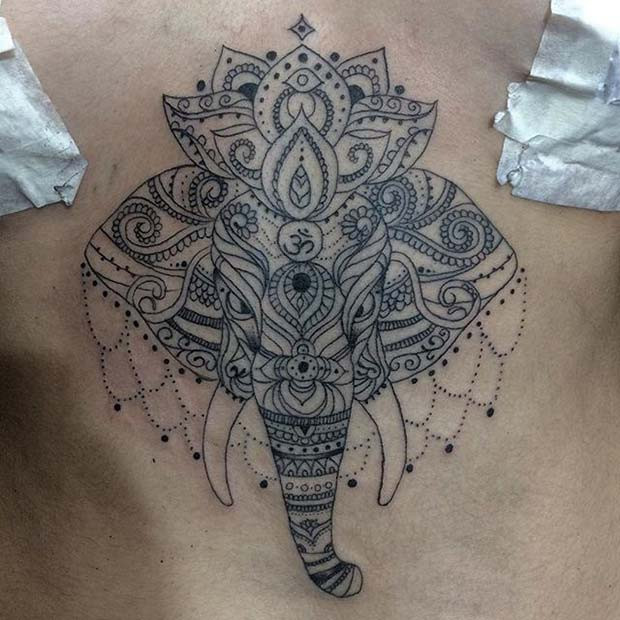 Elefant Sternum Tattoo für Elefant Tattoo Ideen