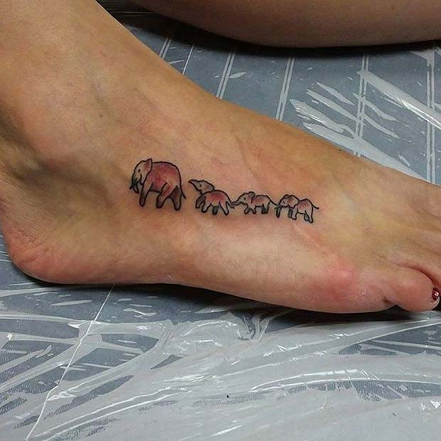Elefanten in einer Linie Tattoo für Elefant Tattoo Ideen