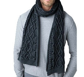 Kinross Chunky Cotton Cable Scarf für Herren