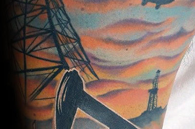40 Oilfield Tattoos für Männer - Oil Worker Ink Design-Ideen
