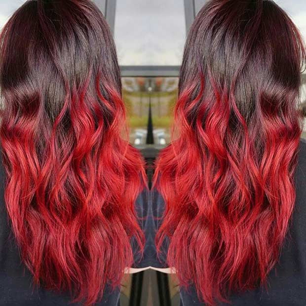 Helle rote Ombre-Haarfarbe-Idee