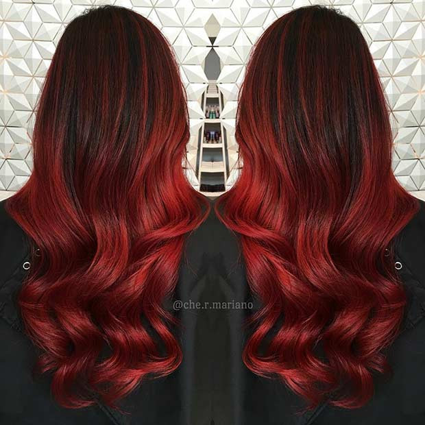 Rote Samt Ombre Haarfarbe Idee