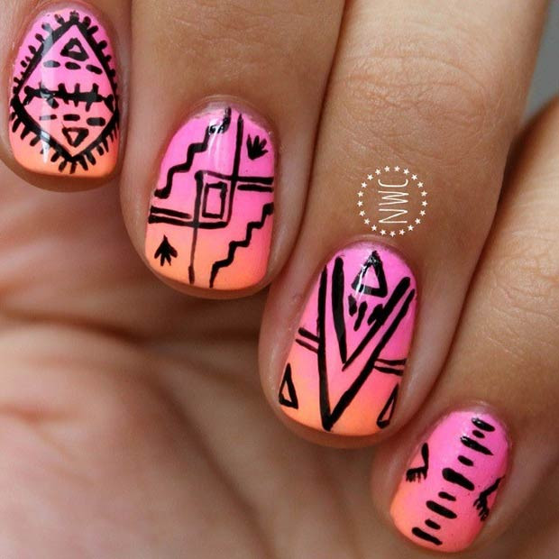 Summer Tribal Nail Design