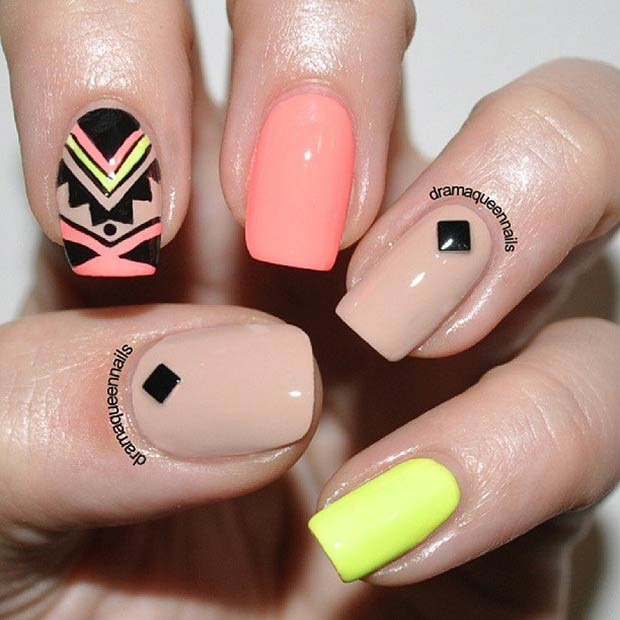Nude & Neon Tribal Nail Design