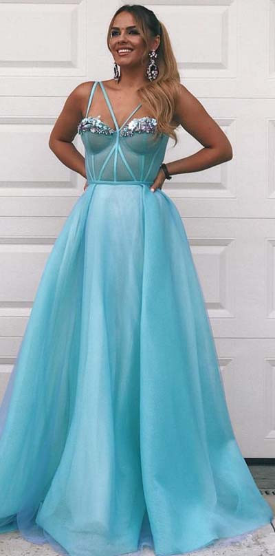 Schöne Prinzessin Blue Prom Dress