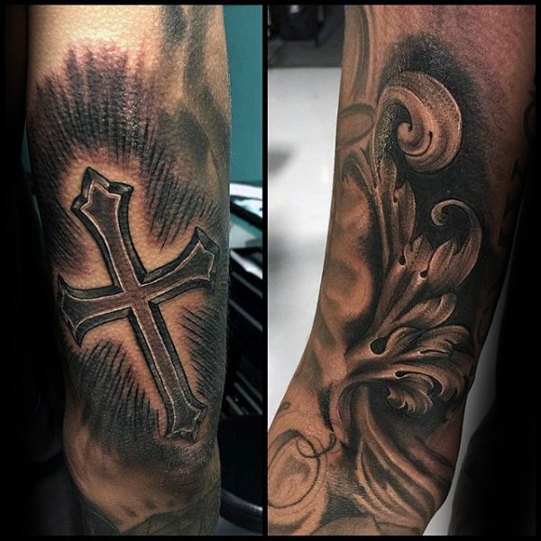 Cross Filigree Mens Outer Unterarm Tattoo Designs