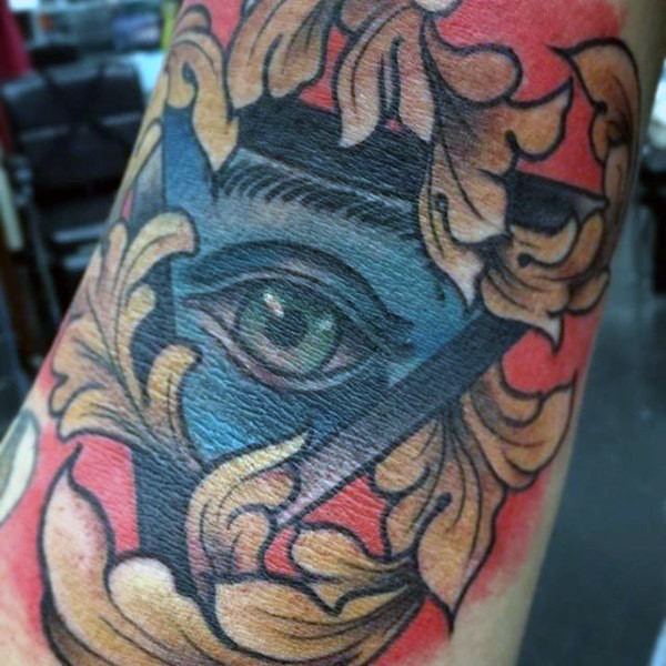 All Seeing Eye Filigree Innen-Ellenbogen-Tattoo für Herren