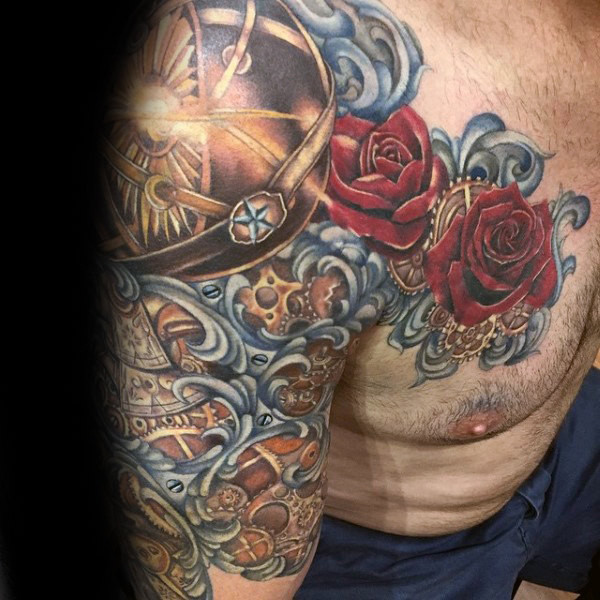 Rote Rose Flower Filigree Mens Half Sleeve und Brusttätowierung